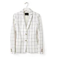 Windowpane Blazer | Banana Republic ❤ liked on Polyvore featuring outerwear, jackets, blazers, banana republic blazer, banana republic, white blazer jacket, white blazer and blazer jacket
