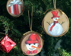 Hand-painted Wood Slice Ornaments Snow Globe by mimarcaisler