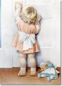 """""""Clara's Best Friend Cindy Turns Four Years Old Today.  Clara is so Excited About Going to the Birthday Party.  Her Mama Tells Her Not to Worry They'll Get There in Time."""", by American artist - Bessie Pease Gutmann (1876-1960)"""