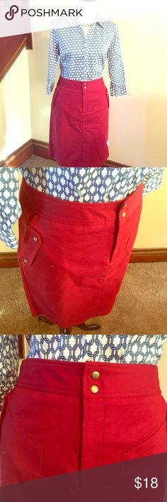 """Worthington NWT military inspired skirt Cranberry / deep red color, called """"rustic red"""". Size 14. Fully lined, 4 pockets. Two slant pockets on sides, then snaps open to reveal two smaller """"Secret"""" pockets. Zip and double snap closure. Skirt is roughly 21.5"""" in length. 97% cotton, 3% spandex, machine wash. * shirt can be found in closet but I am willing to sell as bundle, with (necklace as a freebie!) at a 15% discount! Worthington Skirts"""