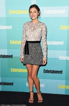 Short and sweet! Phoebe Tonkin showed off her lean legs in a patterned mini skirt...