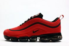 Elegant chic Nike air Max 97 2018 October red addition this shoe is definitely beautiful. Nike Air Max, Mens Nike Air, Air Max 97, Nike Men, Black Sneakers, Sneakers Nike, Boys Nike Trainers, Red Nike Shoes, Basket Style