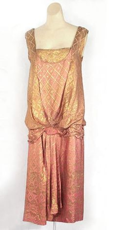 Metallic brocaded satin dress, c.1928, from the Vintage Textile archives.