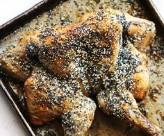 Crispy skinned chicken seasoned with garlic, onion, sesame, and poppy seeds.  http://stalkerville.net/ #paleo #glutenfree