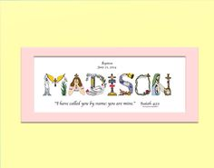First birthday gift for baby girls or boys personalized birthday baby dedication gift personalized christian gifts christian name art matted print baby dedication gifts for girls or boys negle Images