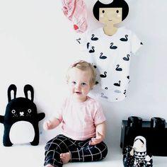 Black Grid, Peach Grid and Black Swan prints designed by Australian children's wear brand, Deer One are 100% organic.