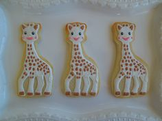 Sophie the Giraffe cookies by MarianneofFranceLLC on Etsy https://www.etsy.com/listing/226841592/sophie-the-giraffe-cookies