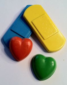 Favor pack 2 Band Aid & 2 heart crayons Birthday by Krazeekrayons