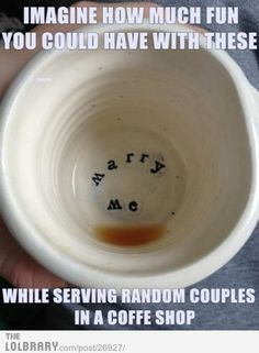 cute 'marry me' coffee mug. this would be the most adorable proposal: both getting ready for your day, lounging in pjs, looking out the window with your cup of coffee, then looking down and realizing your life is about to change. Wedding Proposals, Marriage Proposals, Perfect Wedding, Dream Wedding, Wedding Day, Wedding Stuff, Wedding Bells, Wedding Photos, Wedding Ceremony