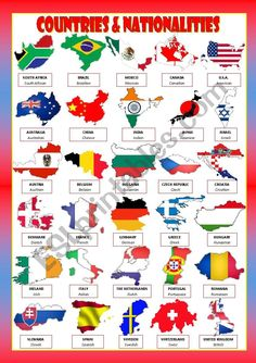 Some months ago I uploaded 3 flash cards with countries and nationalities. I converted those three documents (I´ve just deleted) in this single poster. English Vocabulary Words, Learn English Words, English Study, English Writing Skills, English Lessons, English Language Learning, Teaching English, World Flags With Names, Vocabulary Flash Cards