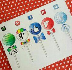 Cute Drawlings, Cute App, Cute Disney Drawings, Cute Little Drawings, App Drawings, Cool Drawings, Apps, Social Media Art, Cupcake Drawing