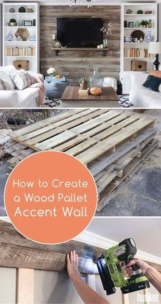 Transform or create a focal point with this wood pallet accent wall! Great for your living room or den, this DIY is a great long weekend project…. – do pallet Pallet Accent Wall, Pallet Wall Decor, Pallet Walls, Wooden Accent Wall, Pallet Room, Pallet Patio, Accent Walls In Living Room, Accent Wall Bedroom, Diy Living Room