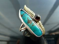Turquoise Feather ring native american indian style