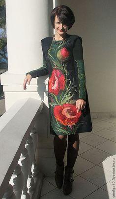 """Купить сарафан """"Хозяйка Маковой долины""""-)) - тёмно-зелёный, изумрудный, маки, авторское платье"""