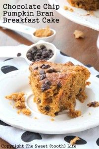 Chocolate Chip Pumpkin Bran Breakfast Cake - The Sweet {Tooth} Life