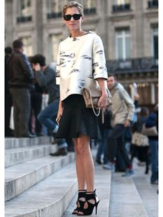 Day 6 - style.com's marina larroude in a #boxy #oversize top paired with a #flippy ruffle skirt