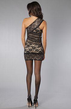 Asymmetrical Nude & Black Multi-Textured Lace Dress - $58