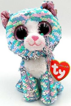 Have you ever seen such a sparkly cat? Just flip my pink and blue sequins, I really love that! My birthday is August Licensed product of TY Flippables Limited Collection. Ages 3 and up. Baby Girl Toys, Toys For Girls, Mini Buggy, Ty Beanie Boos Collection, Ty Peluche, Ty Stuffed Animals, Carnival Birthday Parties, Monster High Dolls, Unicorn Party