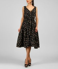 This Black Bird V-Neck Dress is perfect! #zulilyfinds This just looks so comfortable and cool for the spring and summer!  I adore this and only $30 bucks!  and you actually can wear a BRA with it! lol!