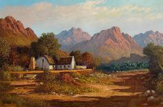Artwork of Tinus de Jongh exhibited at Robertson Art Gallery. Original art of more than 60 top South African Artists - Since Pictures Of Jesus Christ, South African Artists, Landscape Artwork, Art For Art Sake, Mountain Landscape, Original Art, Art Gallery, Masters, Cape Dutch