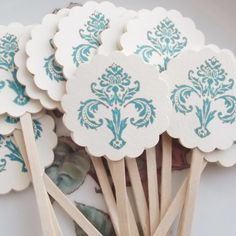 Teal Blue Damask Cupcake Toppers