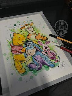 Pooh bear drawing watercolour watecolor aquarela ursinho puf puff  rataria cores colorido