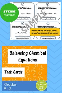Use these task cards to help your students practice balancing chemical equations.