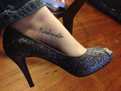 "My foot tattoo, ""Laidreacht"" means ""Strength"" in Irish Gaelic."