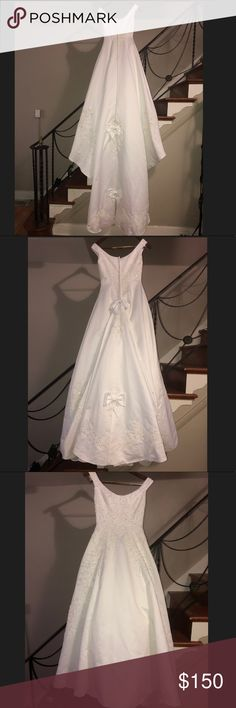 Wedding Dress White wedding dress. Size 6. No alterations. Purchased at David's Bridal. Was used once for a Sweet 16 and stored away. Clasp fastener on top of zipper does need to be fixed. Lady Eleanor Dresses Wedding