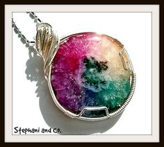Rainbow Solar Quartz Wire Wrapped Pendant by StephaniandCo on Etsy