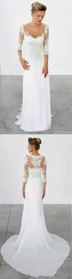 New Arrival chiffon 3 4 long sleeve lace simple cheap beach wedding dresses  with train fca2dea94491