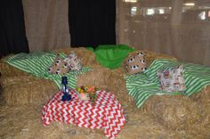 "a ""lounge"" created area with hay bales"