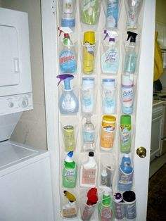 Store cleaning supplies in a hanging shoe bag on the inside of a closet door