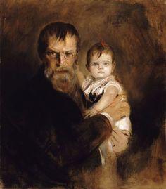 The Artist with his Daughter Gabriel  Artist:Franz von Lenbach (Schrobenhausen 1836 – 1904 Munich)  Szépművészeti Múzeum - Gyujtemenyi kereső angol - Artwork