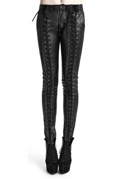 Punk Rave Cryptocracy Lace Up Leather Look Trousers - Click to enlarge