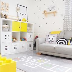 10 Awesome Playrooms That Utilize Clever Storage Options Gray Playroom, Small Playroom, Playroom Organization, Playroom Design, Kids Room Design, Playroom Decor, Playroom Shelves, Playroom Ideas, Kallax Shelving Unit