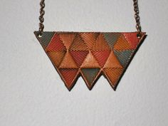 Scouts Leather Necklace Pendant Primitive Triangles Hand-Tooled, Hand Painted  with antique copper plated chain