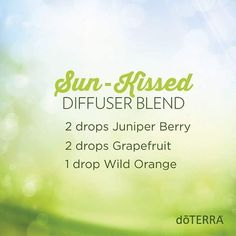 Drink up the sun with this delectable diffuser blend and relish the rest of your day! #juniperberry #grapefruit #wildorange #doterradiffuserrecipes #essentialoils #doterra
