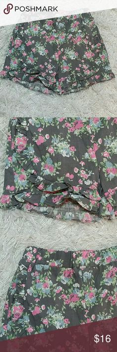 Gray and Pink Flowers Shorts. Kids. Adorable and very beautiful flowers on gray shorts with ruffle.  Very cute item  This item is brand new and never used. No tags Bottoms Shorts