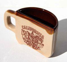 Vintage 70s CALIFORNIA Tourist Pottery Coffee Mug Hollywood Movies San Diego Zoo China Town Gold Rush Half a Cup of Coffee Humorous Mug