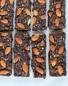 Salted Chocolate Almond Granola Bars. Healthy granola bar recipe sweetened with dates. Tastes just like a brownie!