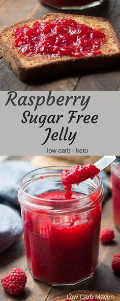 How to can raspberry sugar-free jelly. Raspberry Sugar Free Jelly (sugar free jam) is perfect for low carb and keto breads Sugar Free Jam, Sugar Free Treats, Sugar Free Desserts, Sugar Free Recipes, Sugar Sugar, Jelly Recipes, Jam Recipes, Canning Recipes, Dessert Recipes