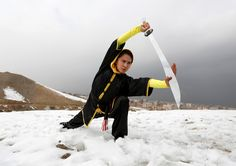 Sima Azimi, 20, a trainer at the Shaolin Wushu club, shows her Wushu skills to other students on a hilltop in Kabul, Afghanistan January 29, 2017. (REUTERS/Mohammad Ismail)  via @AOL_Lifestyle Read more: https://www.aol.com/article/news/2017/02/02/afghan-girls-fight-prejudice-with-martial-arts/21706103/?a_dgi=aolshare_pinterest#fullscreen