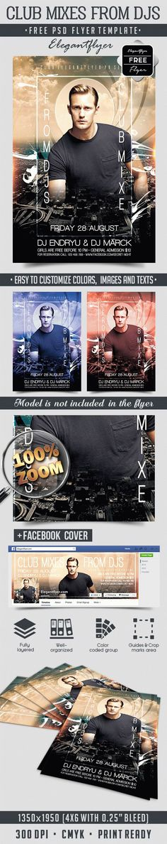 Club Mixes from DJs – Free Flyer PSD Template + Facebook Cover