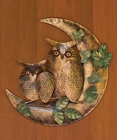 """The PERFECT Christmas gift for Debbie. Anyone out there listening? This metal """"Owl on Moon"""" decoration would be great indoors or out. via Duncraft Owl Facts, Nocturnal Birds, Moon Decor, Owl Photos, Cheap Wall Decor, Owl Always Love You, Quirky Gifts, Wild Birds, Wood Sculpture"""