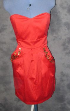 AX Paris,ladies,red,size12,bandeau,sleeveless,no pattern,knee length,Party,Dress