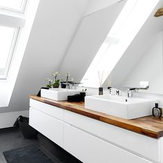 Bathroom Cabinet Ideas In 2020 , 37 Alluring Bathroom Cabinet Ideas (A Guide For Bathroom Storage) Upstairs Bathrooms, Attic Bathroom, Modern Bathroom, Bathroom Cabinets, Bathroom Furniture, Bathroom Storage, Bad Inspiration, Bathroom Inspiration, Sweet Home Design