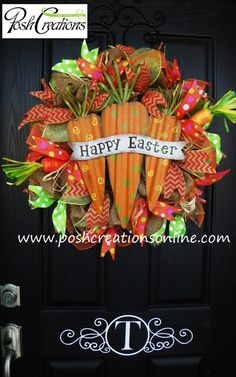 Welcome Carrot Wreath, Mesh Wreath, Carrot Wreath, Happy Easter Wreath, Burlap Wreath on Etsy, $95.00