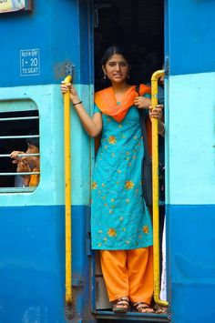 On the train, India. I loved my travel by train through India. Goa India, Saris, Mother India, Indian Colours, Amazing India, Indian People, India Culture, We Are The World, World Of Color
