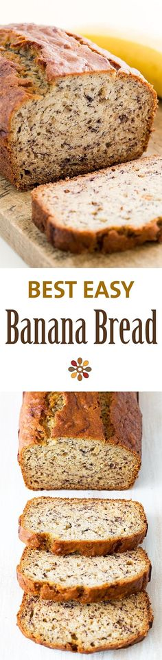 Easiest banana bread ever! No need for a mixer! Delicious and easy, classic banana bread recipe. Most popular recipe on SimplyRecipes.com: